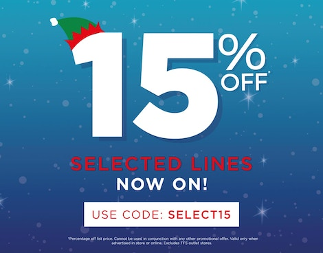 15% Off Selected Lines*