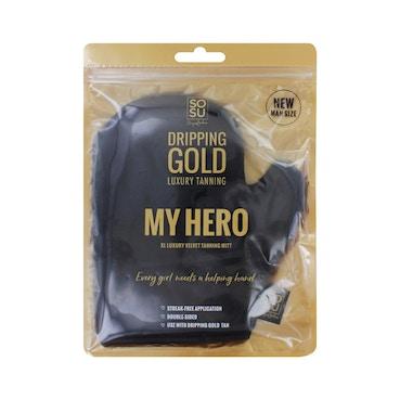 SOSU By Suzanne Jackson - Dripping Gold My Hero XL Luxury Velvet Tanning Mitt